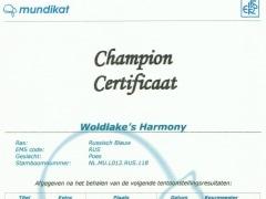 Champion certificaat Woldlake's Harmony.jpg
